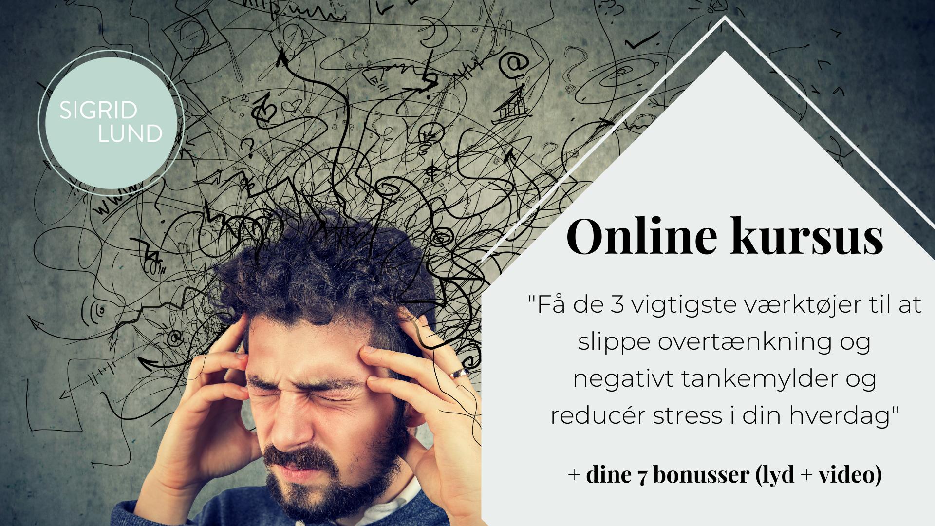 """Online kursus """"Få de 3 vigtigste værktøjer til at slippe tankemylder og overtækning"""""""